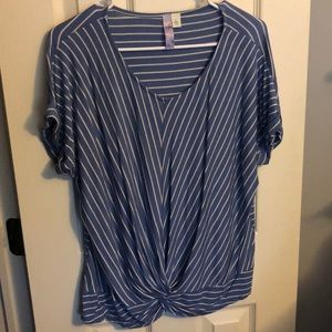 Soft blue and white stripped top.